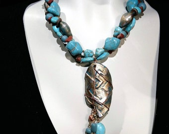 Big and bold  turquoise  choker statement necklace turquoise nuggets and beads New and Trendy Eye Catcher
