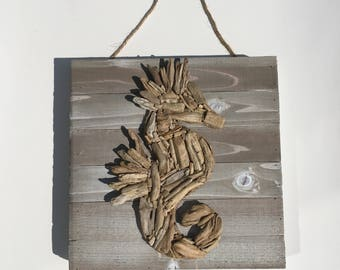 Gentil Handmade Driftwood Wall Art Seahorse On Pallet Board, Driftwood Decor,  Beach Wall Art,