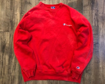 Champion Red Pullover Sweatshirt Mens 2XL