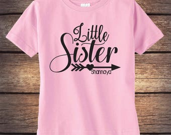 Little Sister Shirt - Personalized Shirt - Sibling Shirt - Baby Announcement - Pregnancy Announcement - Big Sister - Baby Sister - Glitter