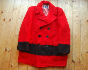 "Vintage 40's/50's Red & Black Hudson Bay Point Blanket Double Breasted Jacket Coat 42"""