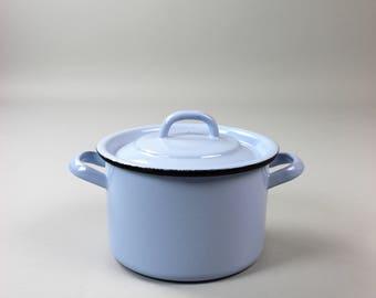 Vintage enamel pot, Pan, light blue pastel, retro kitchen 60s