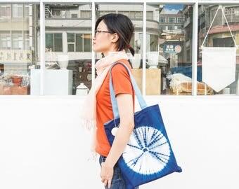 S.A x Indigo Dye Tote Bag - White Straw/ Blue Straw/ Cornflower/ Macaron/ Line