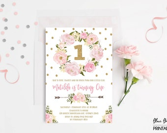 Pink and Gold First 1st Birthday Invitation. Blush Floral Wreath Pink Gold Confetti Glitter Party Invite Boho Wild One Girls Birthday FLO18A