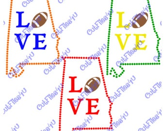 Alabama Football Love cut file design for Silhouette, Cricut in SVG, GSP for Silhouette, pdf, and jpg format for vinyl, HTV, glass etching