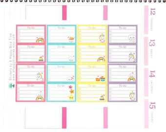 Happy Unicorn Rainbow To Do List Half Box Stickers Erin Condren Life Planner ECLP Mambi Personal Kawaii Cute Errands Shopping Chores Fantasy