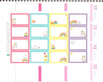 Happy Unicorn Rainbow Half Box Stickers Erin Condren Life Planner ECLP Mambi Vertical Horizontal Create Personal Kawaii Cute Funny Poo Cloud