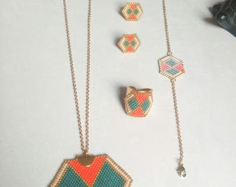 Aurora necklace miyuki delica beads