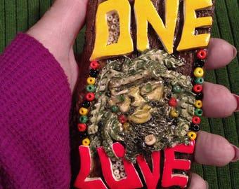 One Love, Rasta Man, Handmade Clay, Driftwood, Glass Beads, Spiritual Strong, One of a Kind, Jamaican National Colors, Rasta Colors, Reggae