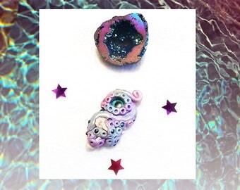 Magical Fantasy Kraken Octopus and Seashell Pendant Necklace // Boho, Hippy, Bohemian, Festival, Eye, Crystals