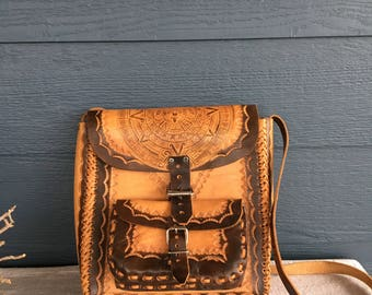 Vintage Aztec Design Leather Purse, Tooled Leather Crossbody Bag
