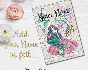 Planner Dashboard - Mermaid Tales - Double Sided Pattern Laminated Dashboard - Foiled Dashboard - Dashboard - Personalized Dashboard