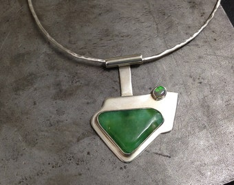 Chrysoprase,Solid     Opal and 925 silver Pendant with Solid Silver choker.
