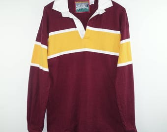 Vintage 1990s Polo Rugby Maroon and Yellow Long Sleeve Streetwear Shirt - Meduim