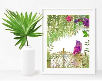 Printable Painting Cat on Flowers  Garden  Watercolor Cat Gift Printable for Cat Lovers  Nursery Art Print Cat Wall  Art  Instant Download