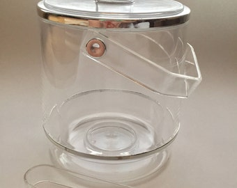 Mid-Century Modern Lucite Ice Bucket with Tongs