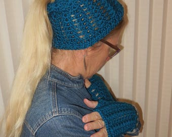 Messy Bun Cap and Fingerless Glove Set Beanie and Glove Set