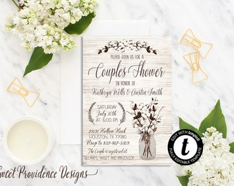 Couples Shower Invitation / Editable Couples Shower Invite/ Rustic Couples Shower Invitation /Cotton Boll Mason Jar Wedding Invitation