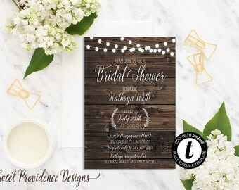 Bridal Shower Invitation / Printable Bridal Shower Invite/ Rustic Bridal Shower Invitation / EDITABLE Wedding Invitation/ Instant Download