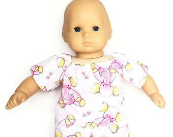 Baby Pajama Top, Elephant, Pink, Yellow, Bitty Baby, Bitty Twin, 15 inch Doll Clothes
