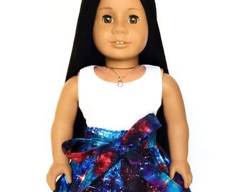 Flare Skirt, Sash, Galaxy, Outer Space, Luciana, Blue, Red, Purple, Fits dolls such as American Girl, 18 inch Doll Clothes, GOTY