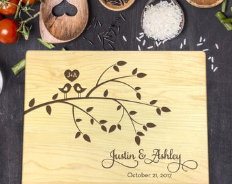 Personalized Cutting Board, Custom Engraved Cutting Board, Mothers Day, Anniversary Gift, Wedding Gift, Gift for Her,  Birds in Tree, B-0033