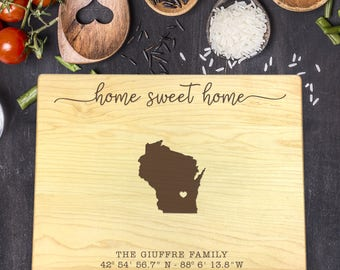 Personalized Cutting Board, Engraved Cutting Board, Custom Cutting Board, Wedding Gift, Housewarming Gift, Home Sweet Home, State, B-0083