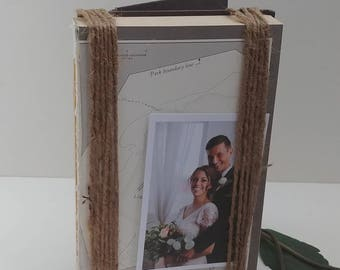Photo frame, keepsake display, Neutral books creatively wrapped in twine, interior designer inspired memory easel, wedding centerpiece, gift