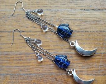 Moon and fish earrings