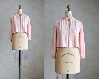 vintage pale pink bed jacket   vintage 1960s boudoir wrapper   60s pinup lingerie   fuzzy finish cropped boudoir top