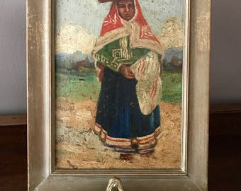 Original Oil Painting Andes Woman