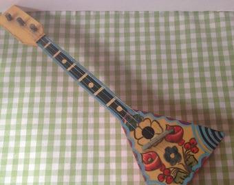 Vintage Toy Balalaika/Decorative Balalaika--Folk Art Russian/Slavic Instrument--Hand Painted Eastern European Folk Art