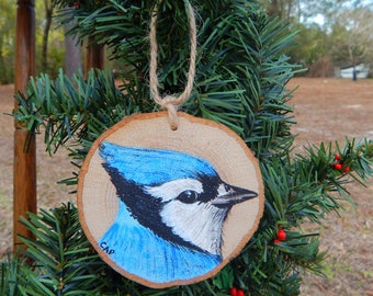 Blue Jay Hand painted wood slice ornament