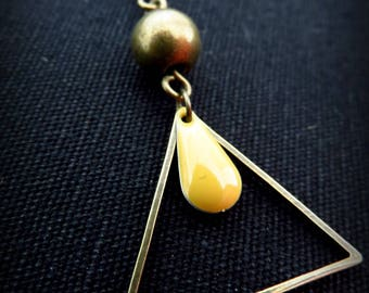 Triangle brass and drop earrings in mustard yellow enamel