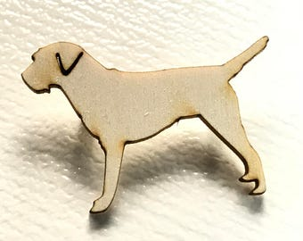 Wooden Border Terrier silhouette brooch pin in birch ply wood, gift for dog lover,Border Terrier pin, working dog pin,