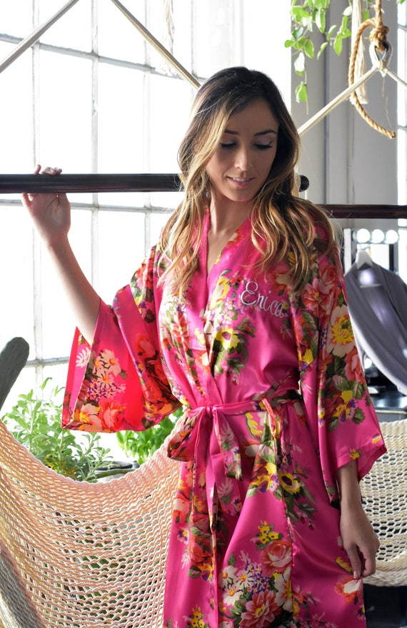 Floral Satin Maternity robe hospital robe nursing robe