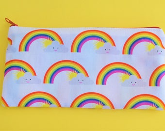Rainbow pouch and mirror set / Lined make up bag / Lined pencil case