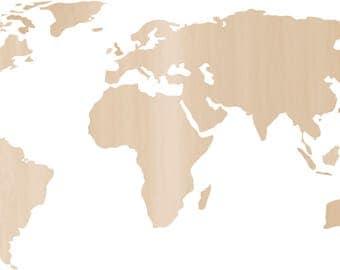 Wood map Etsy