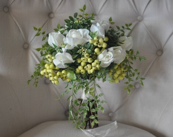 Classic Flowy Ivory & Green Bridal Bouquet - Silk Bride Bouquet w/ True Touch Roses, Berries and Smilax Vine