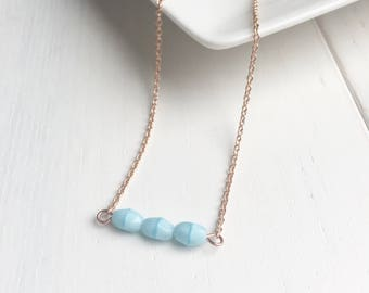 Light Blue Necklace, Bar Necklace, Dainty Necklace, Delicate Necklace, Pastel Jewelry, Gift For Her, Girlfriend Gift, Christmas Gift Ideas