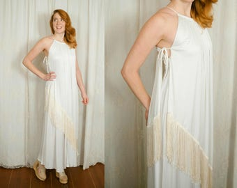 1970s Grecian Godess Fringe Dress - Small / Medium