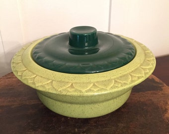 Vintage USA Pottery Avocado and Lime Green Covered Casserole Dish | Kitschy 1970's Retro Kitchenware