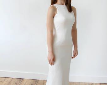 Simple Elegant Silk Mermaid Keyhole Back Wedding Dress