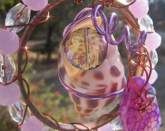 Purple Agate and Shell - Sun Catcher
