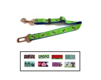 Dog seat belt, dog safety, dog restraint, dog travel, car restraint, dog car leash, fun, universal, adjustable belt, bees, 9 models