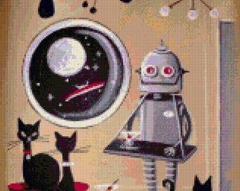 Mod Robot Mid Century cross stitch pattern art of El Gato Gomez PDF - Instant Download!