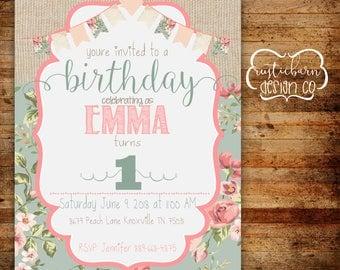 Rustic Vintage Birthday Party Invitation-5x7 Custom Invitation- Digital Download/PRINTABLE