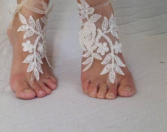 barefoot sandals,wedding shoes, summer shoes,Beaded. ivory lace, wedding sandals,prom dress accessories, foot jewelry,, free shipping!