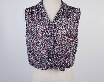 Graphic Rectangle Print Notched Collar Sleeveless Black Vintage Blouse Size M