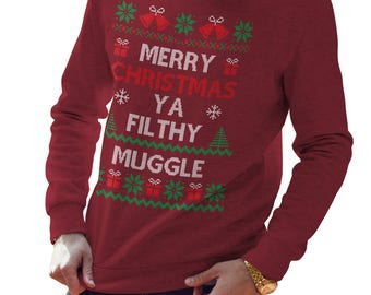 Merry Christmas Ya Filthy Muggle Sweatshirt, Harry Potter, Gift, Funny Christmas Sweatshirt, Christmas Jumper, Gift for her, CH53